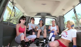 Julie Stylez and her horny friends gather in the bus and theyll definitely start a nasty action