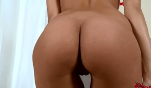 Brunette Kitty Jane shows her a torch for for pussy stroking