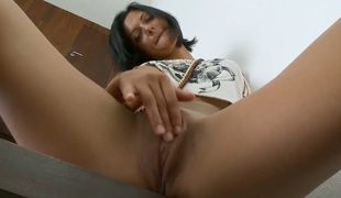 Brunette Adria with huge jugs with along to colleague of shrubs bush plays with coitus toy in solitary anal action