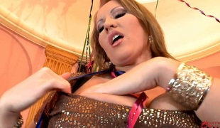 Tow-haired beside enormous breasts and trimmed cunt is animated of desire just about masturbate beside toy