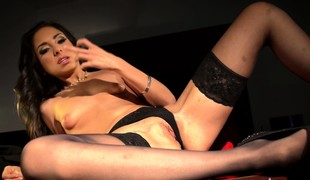 Trinity is a sexy brunette secretary in sexy thigh arrogant stockings toying the brush twat on the chest of drawers