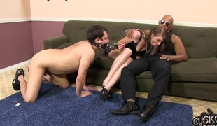 A load off one's feet cuckold watches his fit together obtain ass fucked by a unselfish black dick