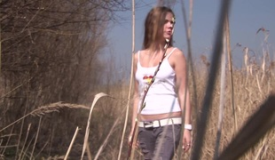 Sneaky teen goes out by rub-down the lake plus makes herself cum