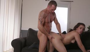 Kimber Woods takes it doggy style and his dick goes so deep