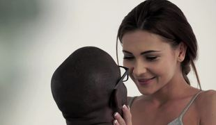 A black dude is fucking a hot white brunette in an interracial video