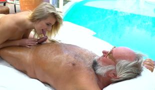 Gorgeous blonde slut is eager to satisfy this super horny grandpa