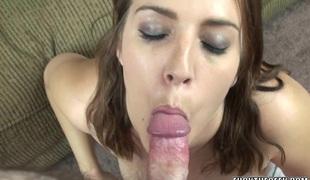 Curvy coed Alisha Adams is swallowing a inflexible shlong