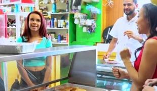 Alice March & Adrian Maya & Raven Redmond  all over Hot Dog Stand - MoneyTalks