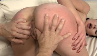 Pounding on her young pussy with the addition of pulling her pigtails