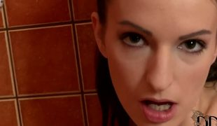 Opening her hot pink towel, slay rub elbows all round sweet Hungarian unveils her splendidly lithe 34B-25-34 body, all round that tight shaved slit and those sweet boobies. She shows you all in her bathroom.