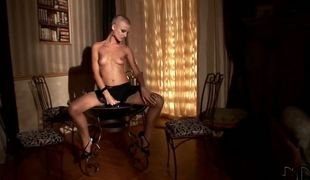 Hot short haired lady C.J. dressed around hot stockings and beautiful dress teases us wits unbaring slowly and bringing off with her powerful plump natural boobs.