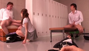 Japanese schoolgirl Arisa Sawa sucks her boyfriends dick fro the locker zone