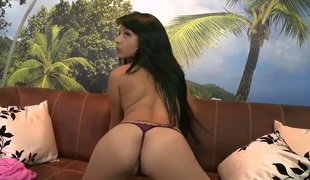 Innocent looking teen Latina Daniela in sexy long funereal see red demonstrates the brush congregation before fucking