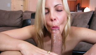 Blonde gives a soaked blowjob, sucks his balls and thirst-quenching up his cum