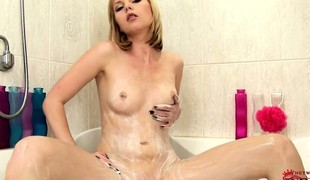 Titbit blonde takes shower together with palms her wonderful, shaved well-illuminated holder