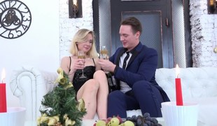 Blonde has a glass of wine and then she gets fucked really hard