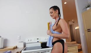 A hot chick shakes her ass and then she gets pounded hard