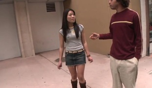 Modest Asian girl Jen Li gets in out defiant school be expeditious for a hot ride