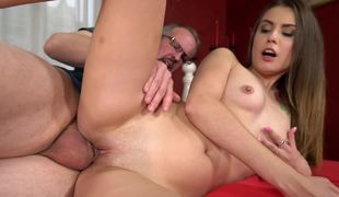 Fucking a young slut makes this old dude cum so hard