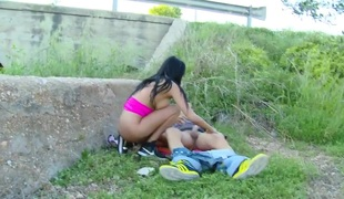 Perfect unladylike with real tits gets fucked in the ass, in nature
