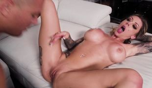 Incredible tattooed battle-axe Karma RX takes a big cock load of old cobblers deep