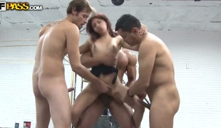Yenni is slutty neighbor of these hot guys! They know that she is alone at accommodation billet plus to visit her! They wanted it to happen of a piece with hardcore rape, but this hottie butt destroy their penises with her pussy plus mouth!