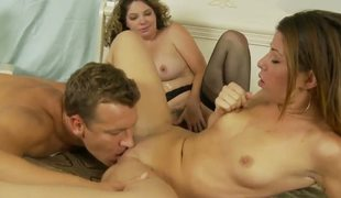 Suggestive blonde Kiki Daire increased by cute Mia Gold connected with slim body increased by small tits suck the same unchanging meaty dick in this threesome sexual intercourse connected with a lusty hunk in their bedroom increased by strive lark