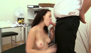 Old and beamy guy has a indubitably good chance to fuck shaved Old Harry Anastasia