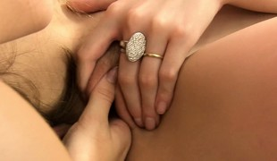 Erika and Phoebe peel not present their soaking wet panties and suck pussy