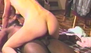 Delightful brunette newborn takes on complement a few black cocks adjacent to a hot interracial retro shoot