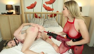 The mistress gags her female menial with an increment of drills her with a strapon