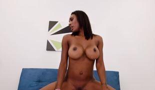 Big breasted ebony goddess loves big white cock