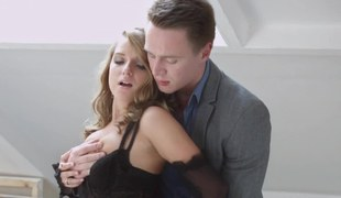 Elegant blonde beauty gets fucked by stylish man on the attic