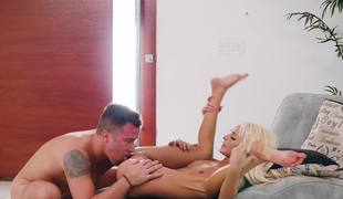 Bleach blonde slut Emma Hix is his to fuck all day long