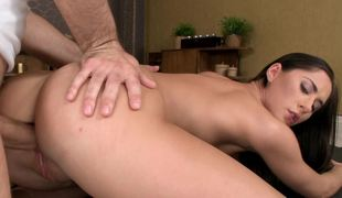 Brilliant tootsie with beautiful hair makes love to her man