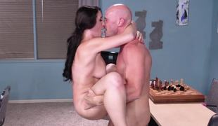 Chess teacher and busty schoolgirl end lesson with hot sex