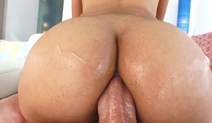 Lubed Latina asshole opens about for big cock anal sex