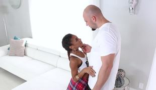 A black chick that has small bosom is is nailed in say no to wet pussy