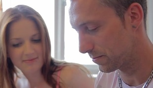 sexy ukrainian redhead girl likes sex with older men when her boyfriend away - OldGoesYoung