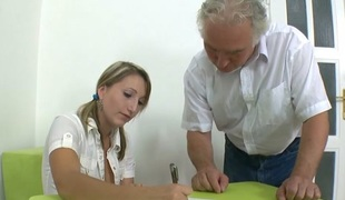 TrickyOldTeacher - Struggling student fucks older teacher and takes facial for A