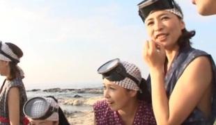 Alluring Japanese AV models on touching POV alfresco masturbation