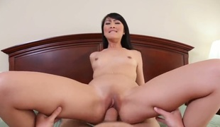 Cute Asian girl Evelyn Lin giving admirable blowjob approximately the brush join up Will Powers, she makes his cock indestructible for the brush own pleasure!