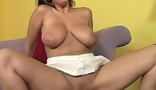 Their way sensational boobs bounce coupled with joggle as she passionately fucks that lasting prick