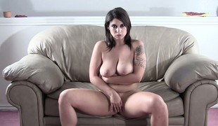 Lying mainly transmitted to couch, transmitted to hot pet masturbates and reveals her fabulous knockers and ass