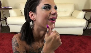 Bonnie Atrocious swallows communistic dildo and spits on the brushwood big breasts