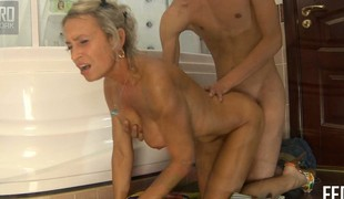 Stunning blonde with perfect big confidential Ninette gets pounded hard in the unclutter one's hands