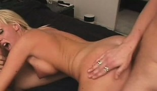Over-excited fair-haired kitty with eminent tits gets herself drilled anally
