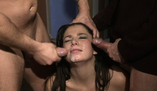 Rough all-hole gangbang and a bukkake treatment be beneficial to an office hottie