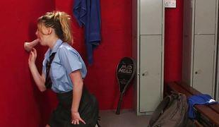 Schoolgirl sucks at gloryhole