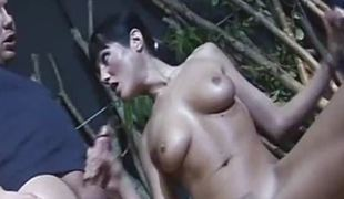 Busty amateur puerile girlfriend threesome action with cum